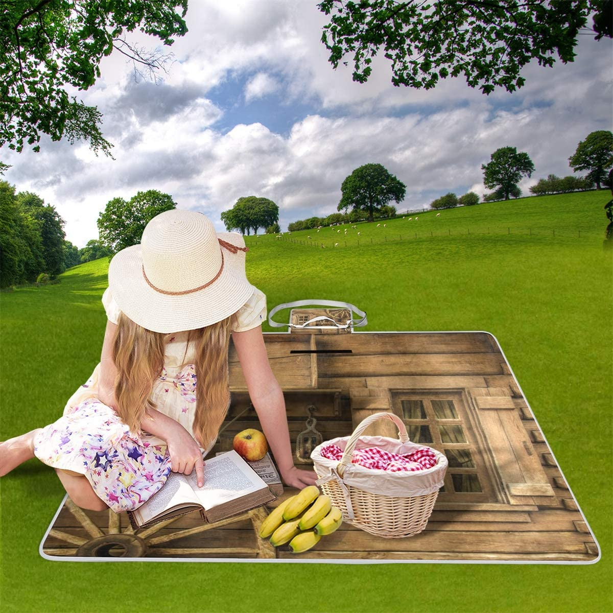 XINGAKA Coperta da Picnic Tappetino Campeggio,Fiore piangente,Giardino Spiaggia Impermeabile Anti Sabbia 14