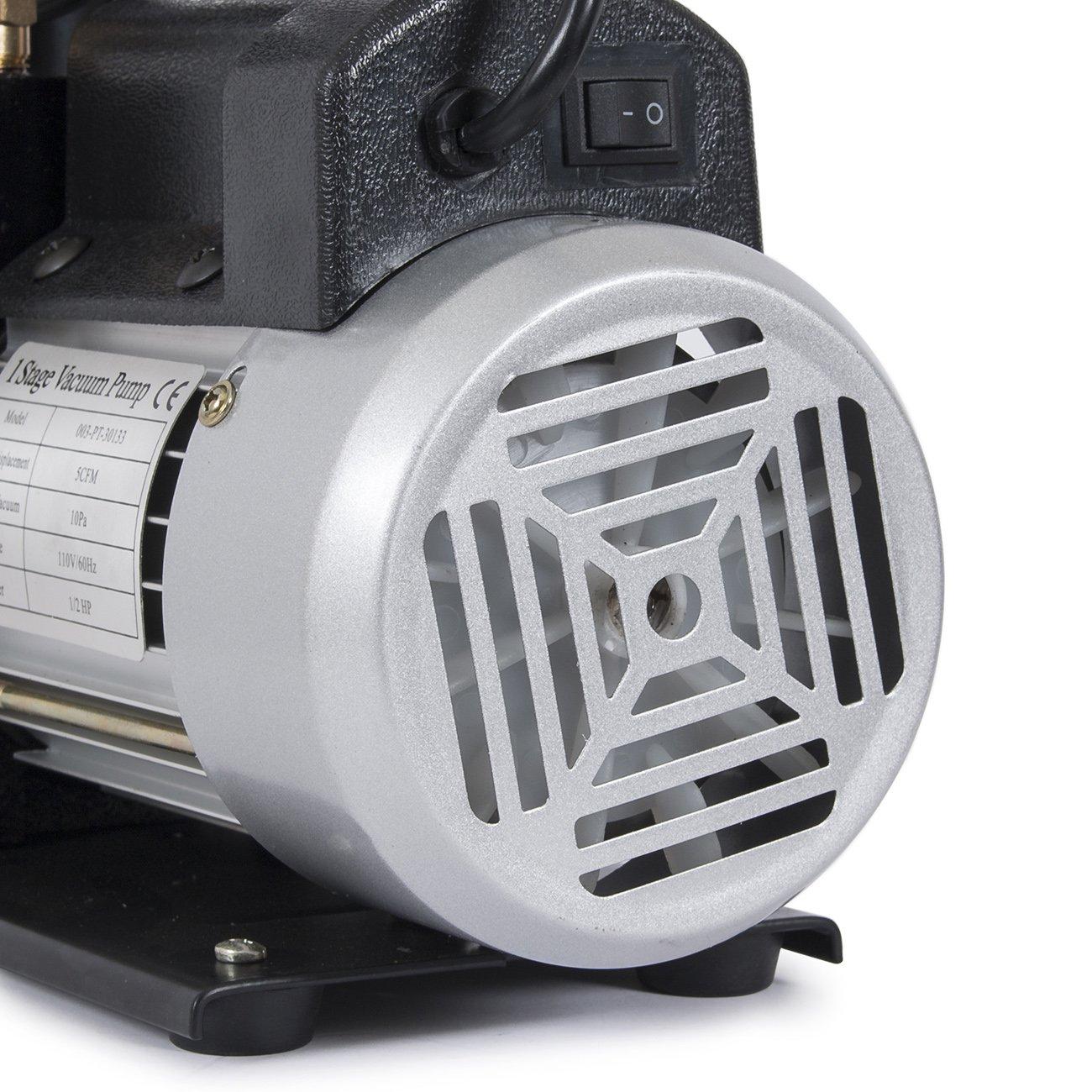 ARKSEN 1/3HP 3 CFM Rotary Vane Vacuum Pump with R134A