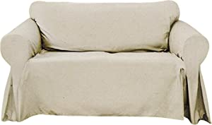Decorative Sofa Textured Slipcover, Woven Design Couch Lounge (Ivory, Sofa)