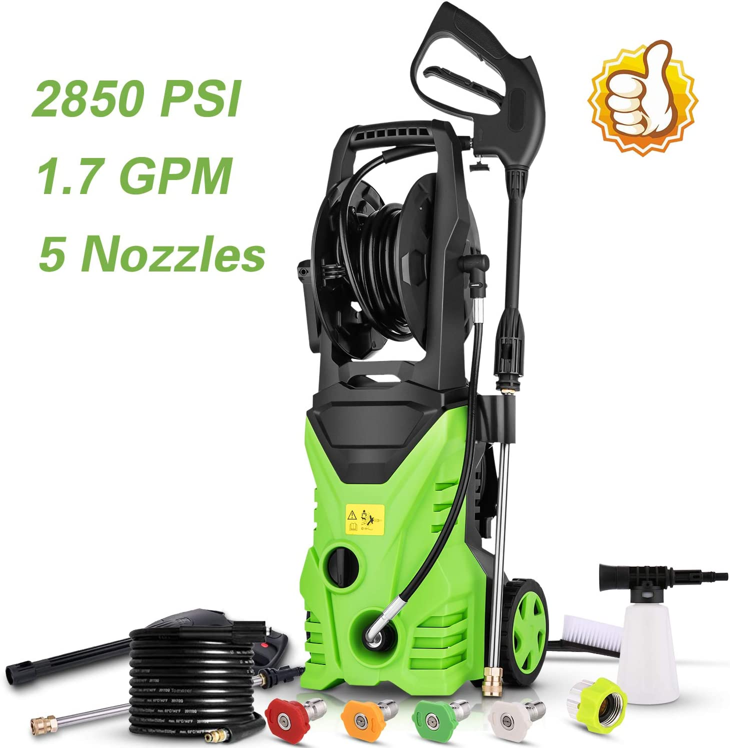 Homdox Electric Pressure Power Washer 2850PSI 1.7GPM High Pressure Power Washer 1800W Machine Cleaner with Hose Reel, 5 Nozzles