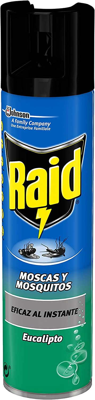 Raid - Insecticida Moscas y Mosquitos Aroma Eucalipto, Acción Instantánea, Aerosol - 400 ml