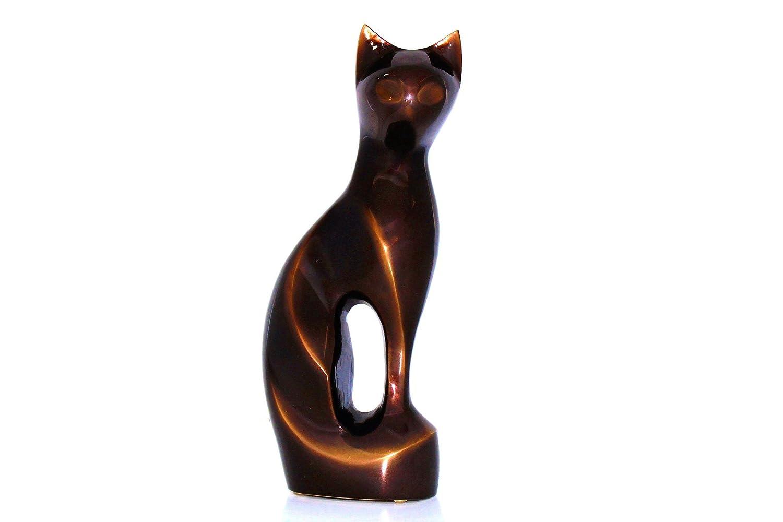 Kronos - Urne cinéraire en bronze marron en forme de chat - Dim : Cm 10,0 x h Cm 23,5; Vol. lt 0,5