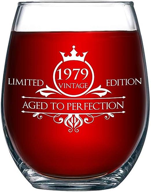 Amazon.com: Vaso de vino sin tallo para cumpleaños, diseño ...