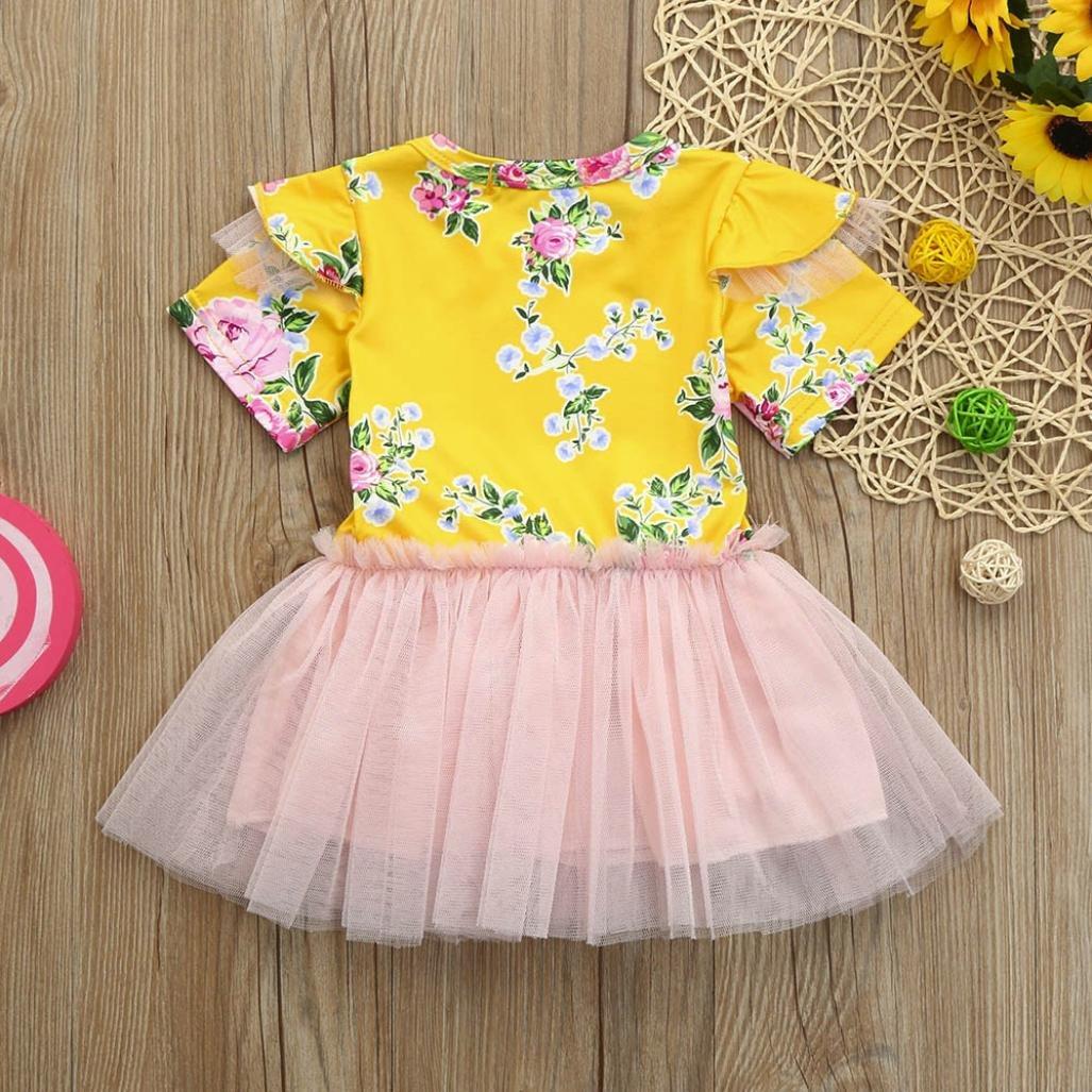 Girls Infant Kids Floral Tutu Dress Princess Blue Yellow Clothes Pollyhb Baby Dress