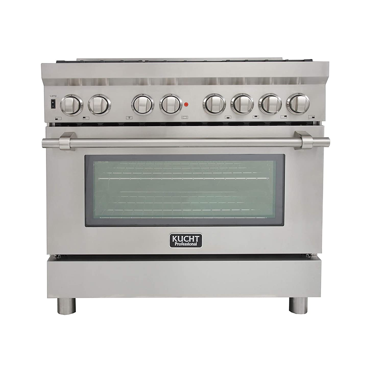 Kucht KPD361F/LP Pro. 36' 5.2 cu.ft. Dual Fuel Range for Propane Gas with Sealed Burners, Convection Oven in Stainless-Steel Kucht Appliances