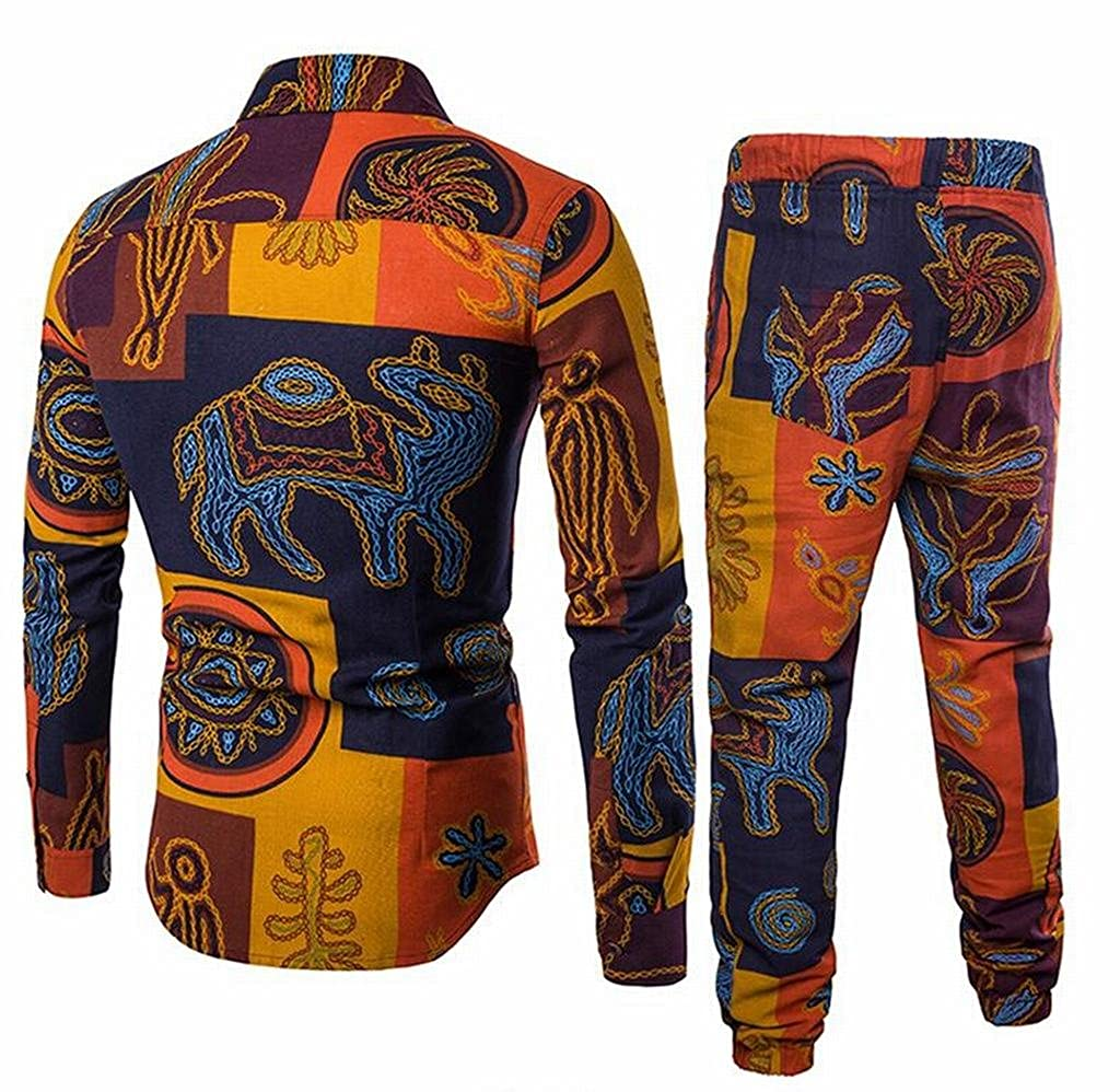 Fensajomon Mens Two Pieces Set Casual African Print Dashiki Cotton Linen Jogger Pants Outfits