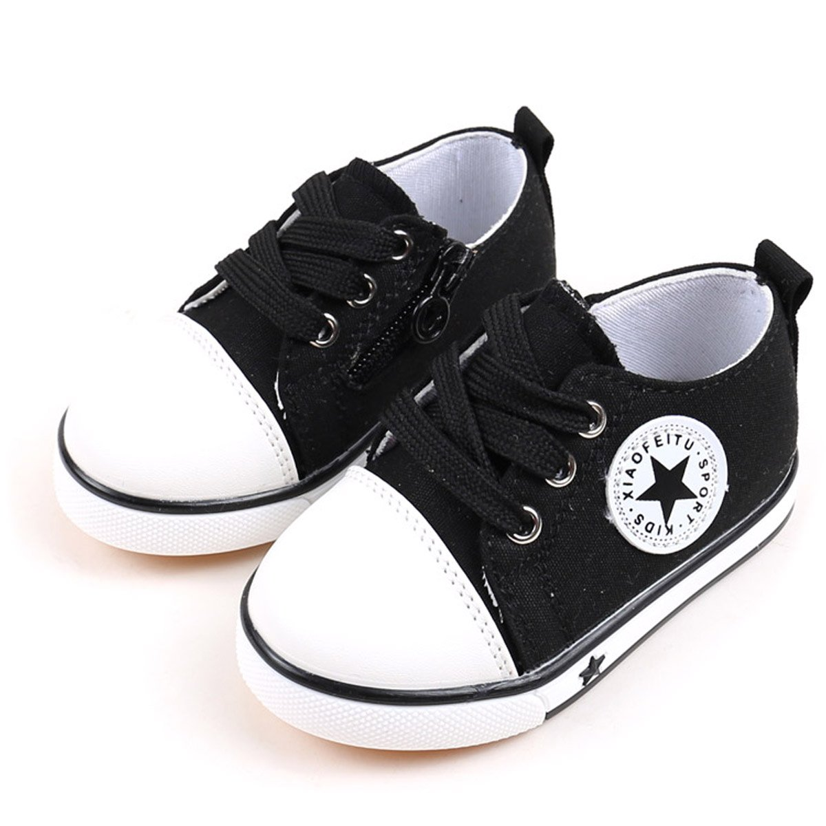Tutoo Unisex Baby Boys Girls Shoes Kids Canvas Toddler Child Soft Sole Fashion Sneakers … (5 M U.S Toddler, A-Black)