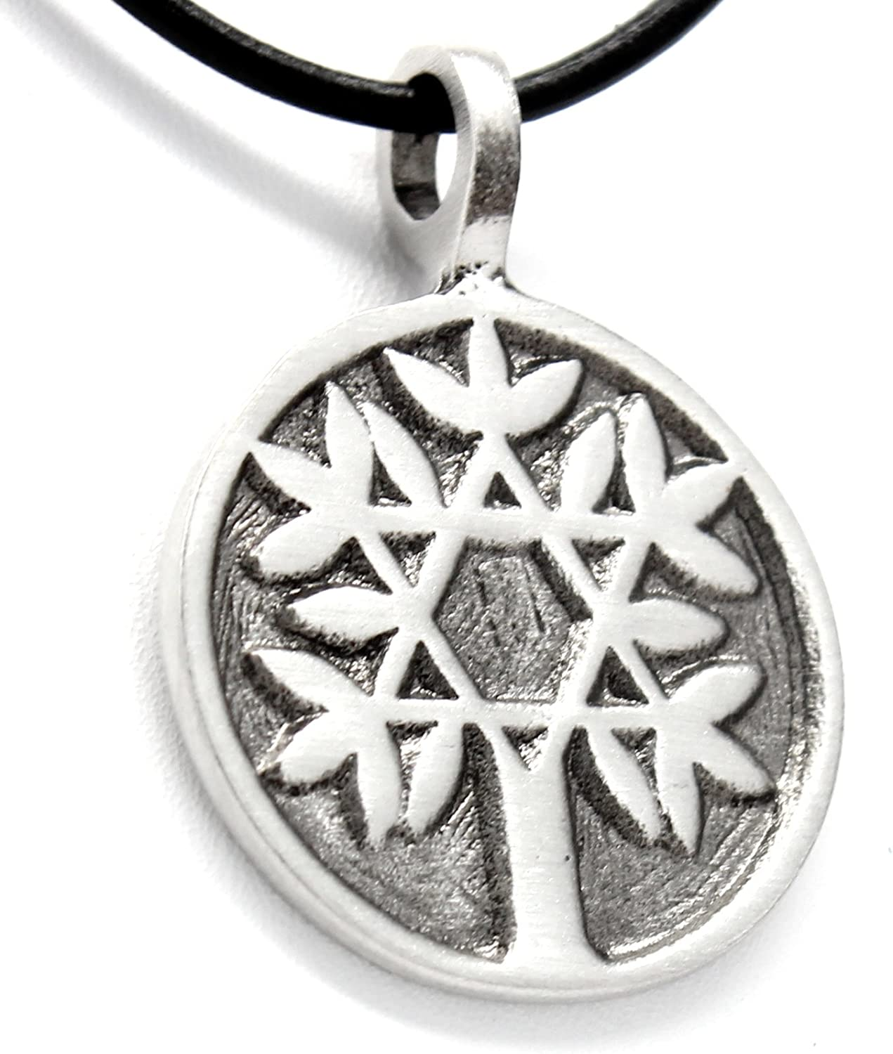 Pewter Tree of Life with Star of David Pendant on Leather Necklace