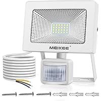 MEIKEE Foco LED con Sensor de Movimiento, 20W Foco Proyector LED 2000lm, 6500K Luz LED Blanco Frío, Impermeable IP66, Luces de Seguridad para Patio, Terraza, Camino,Trastero
