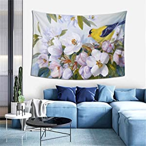 Goldfinch Apple Blossoms Fine Art Bird Tapestry Wall Hanging Art Deco Tapestry, Cartoon Home Furnishing, Used For Living Room Kitchen Outdoor Dormitory Bedroom 60x40 Inches