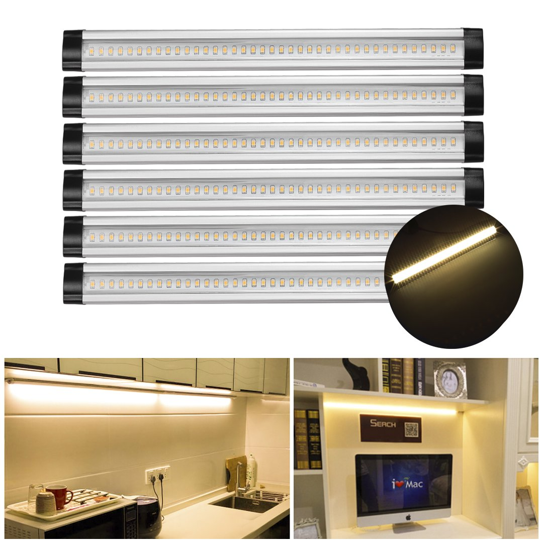Under Cabinet Light Led White Kitchen Counter 6 Panels Kit Switch Control New Ebay