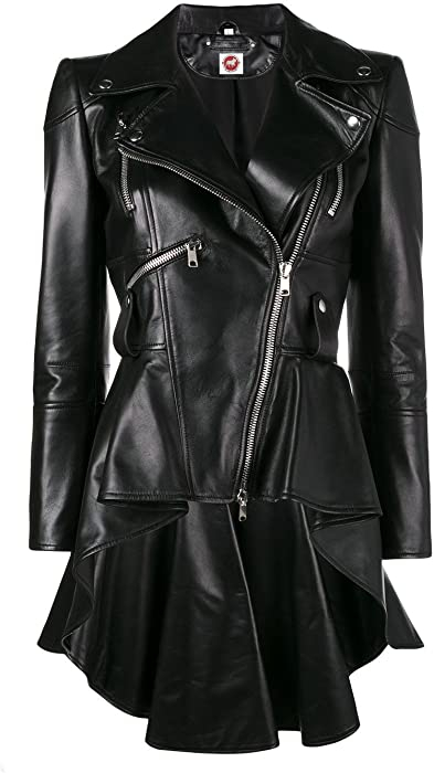 f28e2601da9b0 Takitop Medusa Black Peplum Fashionable Designer Genuine Leather Jacket  Women Missy Plus Size