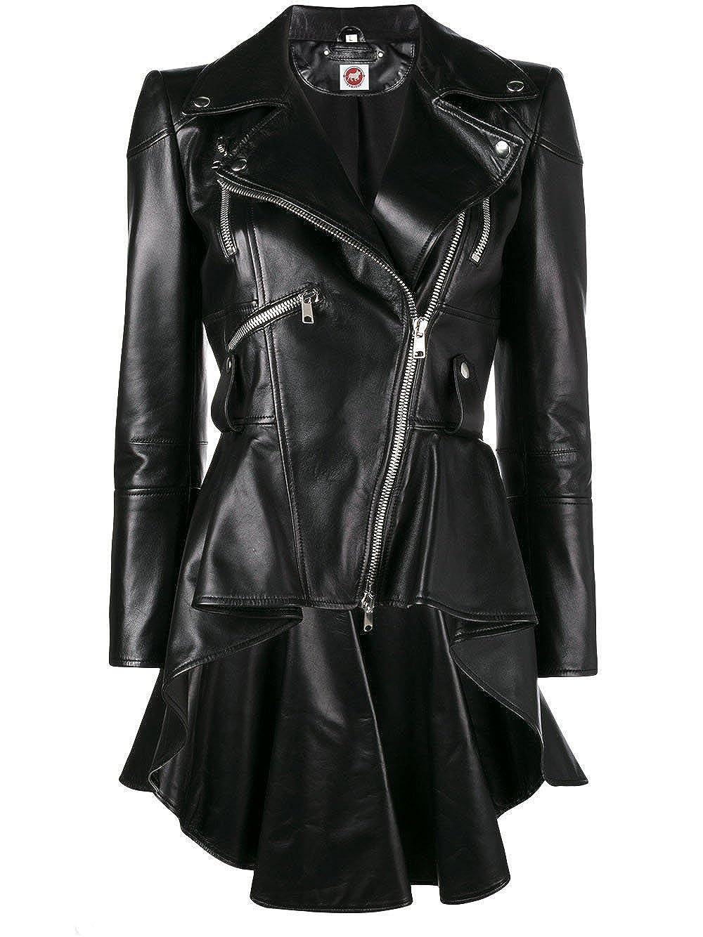 peplum leather jacket –