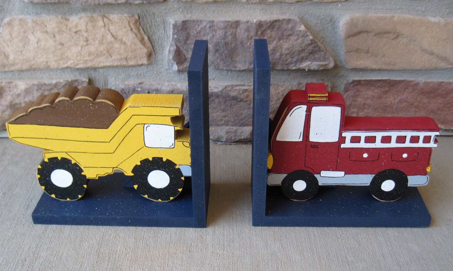 Dump Truck and Fire Truck bookends for children library, bookshelf