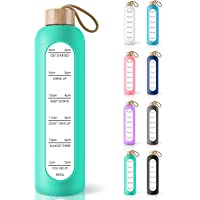 PROBTTL 32 Oz Borosilicate Glass Water Bottle with Time Marker Reminder Quotes, Leak Proof Reusable BPA Free…