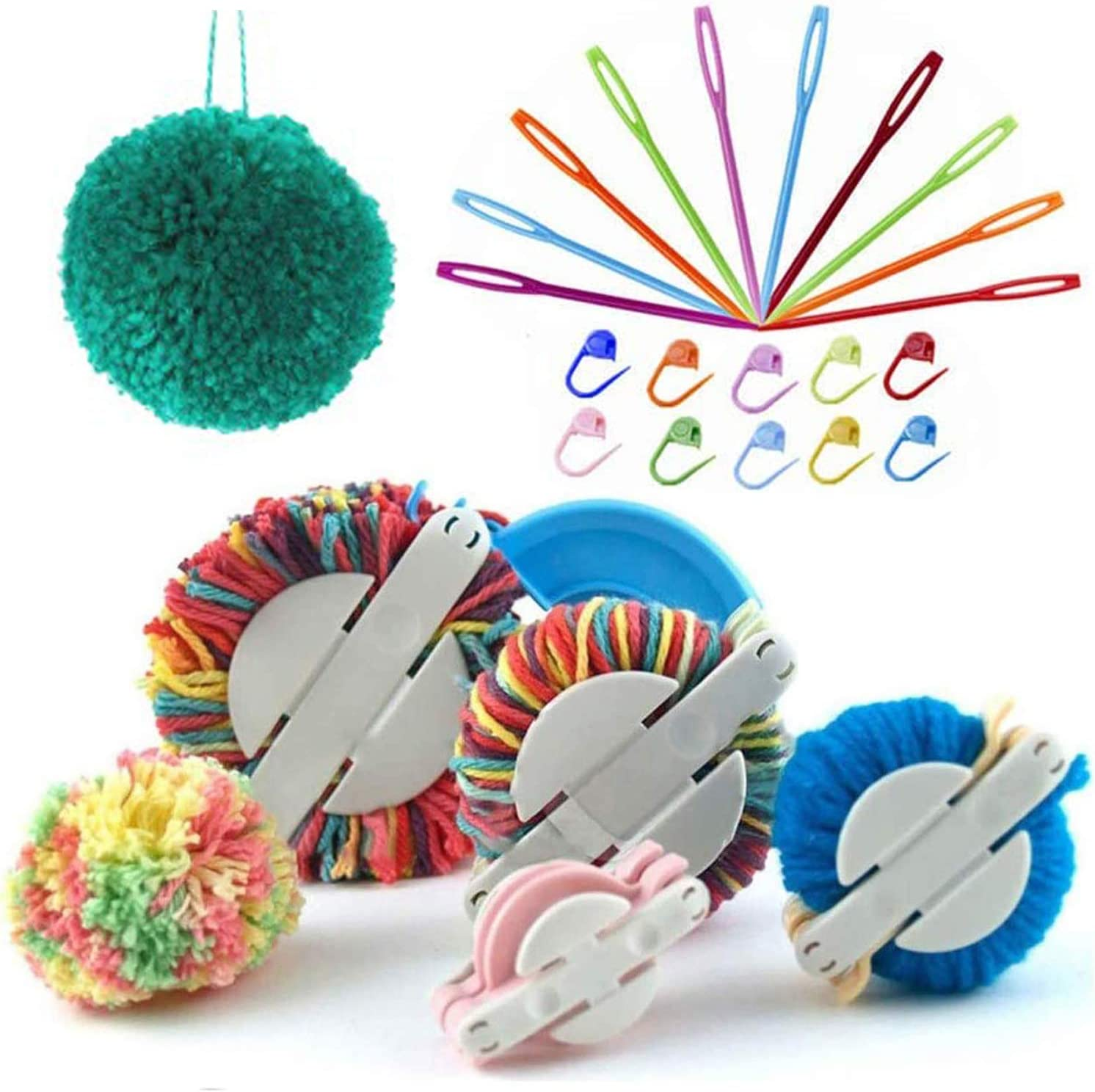 Pompom Maker Kit, 4 Sizes Pom pom Makers for Fluff Ball Weaver Needle Craft DIY Wool Knitting Craft Tool Set Decoration + 10 PCS Knitting Stitch Markers + 10 PCS Plastic Needles