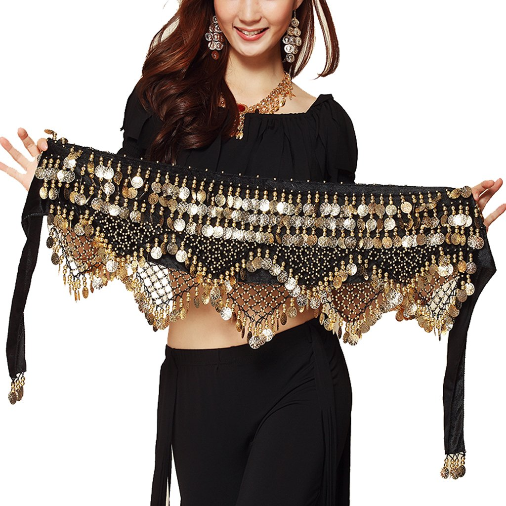 fecc9f0fb Amazon.com  Pilot-tradeWomen s Sweet Bellydance Hip Scarf With Gold ...