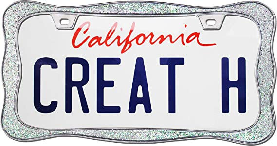 creathome 3D Curly Wave Pattern Shining Red License Plate Frame from Pure Zinc Alloy Metal 2Pcs Package