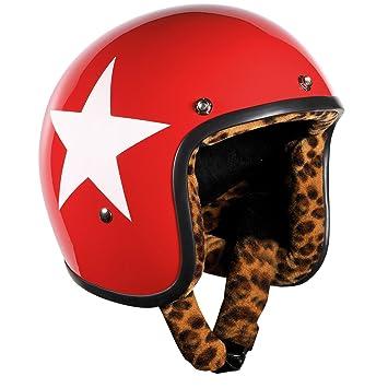 Bandit de ciclismo casco jet Star Red Leo de forro, Moto, Casco con forro