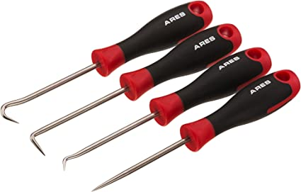 Hook Combination and Straight Hooks and Picks Precision Hook and Pick Set Chrome Vanadium Steel Shaft Easily Remove Hoses and Gaskets 4-Piece Set Includes Precision 90 Degree ARES 70256