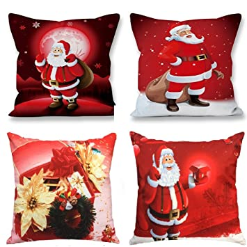 NATURALSHOW Throw Pillow Covers Set of 4 Decorative Pillowcase Covers Cushion Case 18x 18 Christmas Reindeer