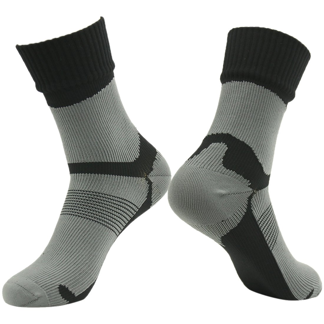 RANDY SUN Waterproof Nylon Socks, Men's Dri-Fit High Cushioned Socks Thermal Comfort Hiker Crew Length Socks for Special Operation Black Grey by RANDY SUN