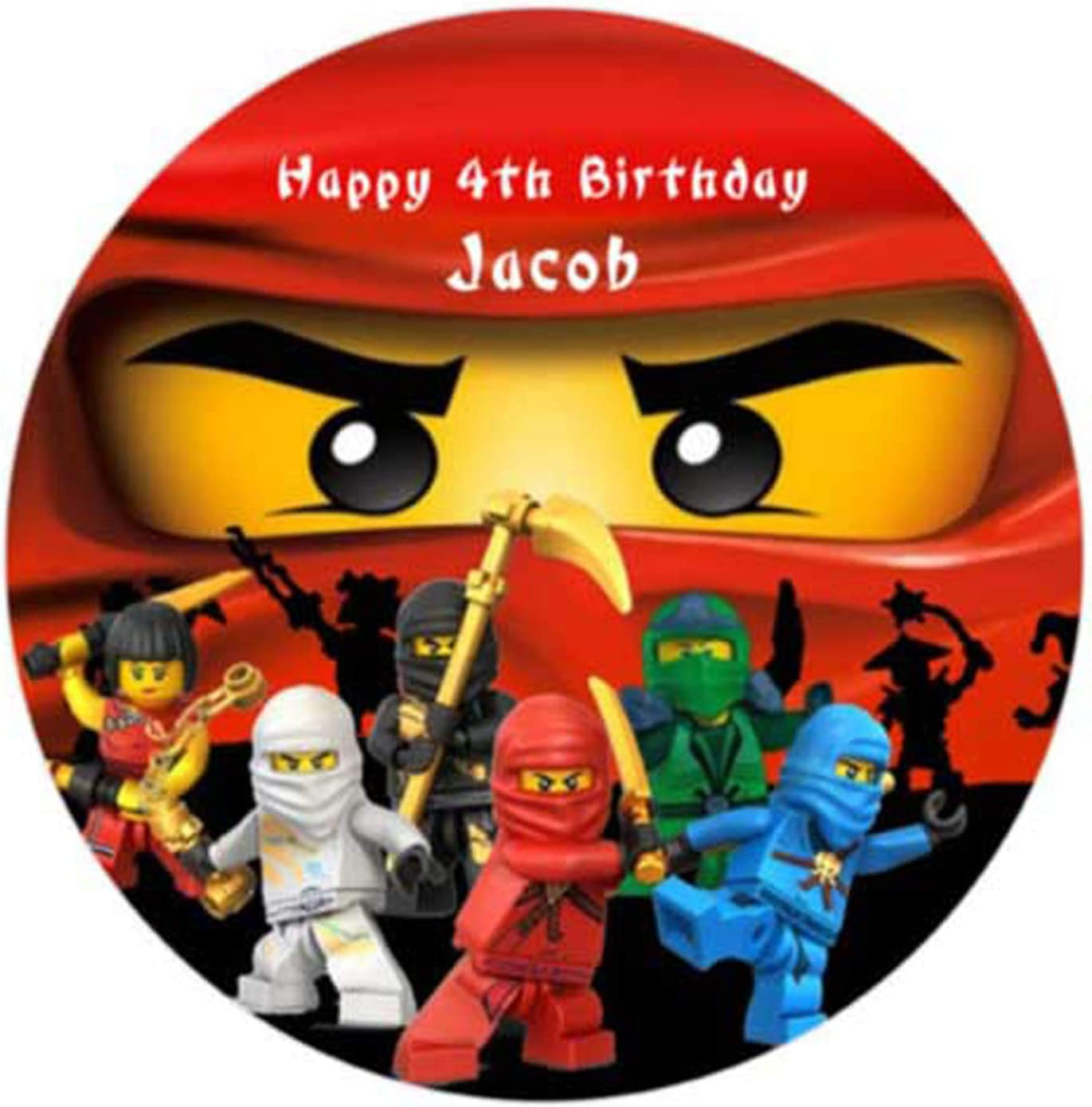 Pleasing Ninjago Personalized Cake Topper Icing Sugar Paper 7 5 Ninja Red Funny Birthday Cards Online Alyptdamsfinfo