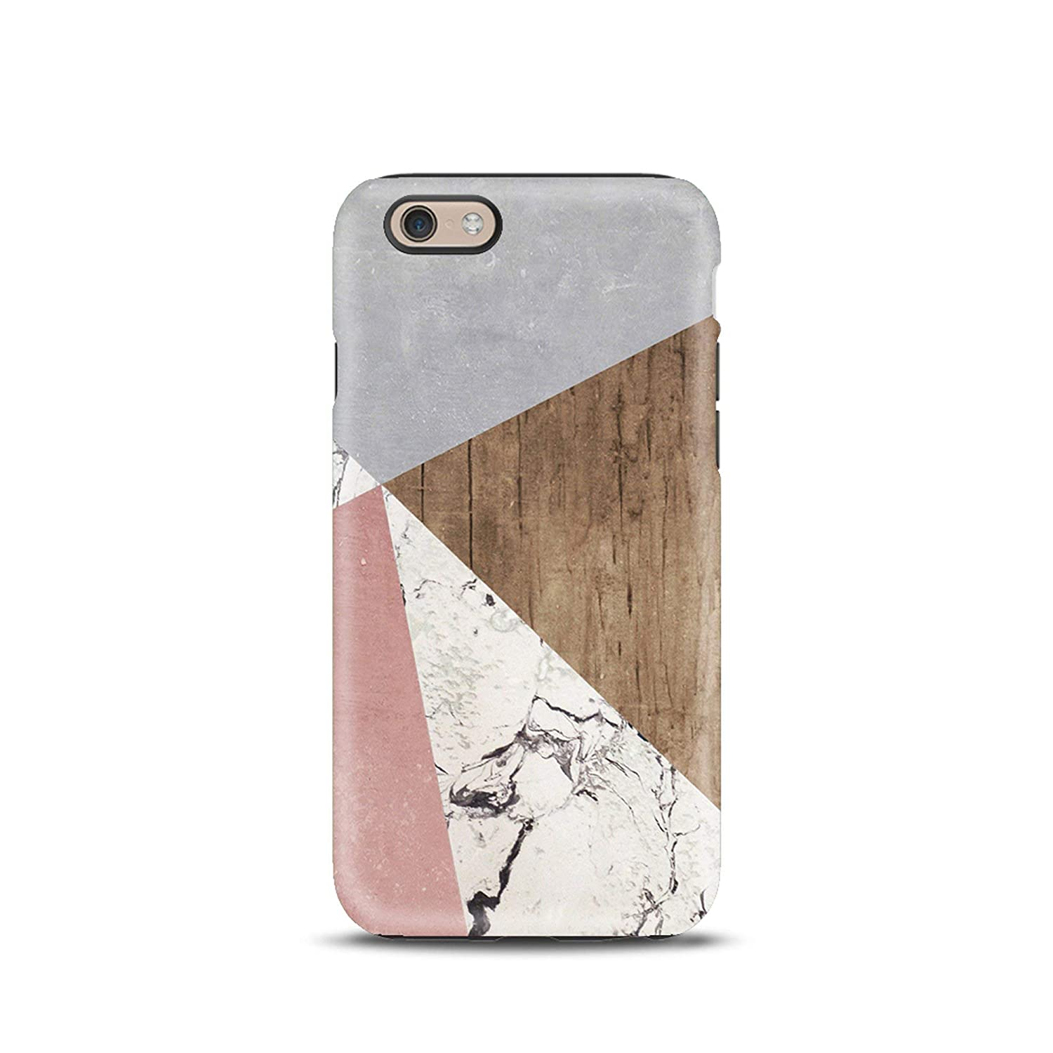 Geometric Color Block Marble Wood cover case TPU Tough for iPhone 5, 5s, 6, 6s, 7, 7 plus, 8, 8 plus, X, XS, for Galaxy S6, S7, S8