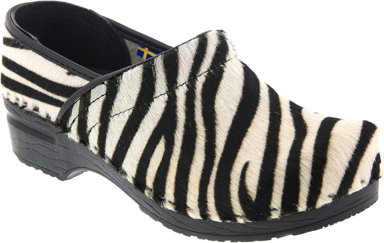 Bjork Professional Safari Leather and Fur Clogs in Zebra Print