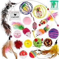 Wuudi Katzenspielzeug, 20 Stück, Katzenbälle Federn, Interaktives Haustier Spielzeug, für Kätzchen und Katzen
