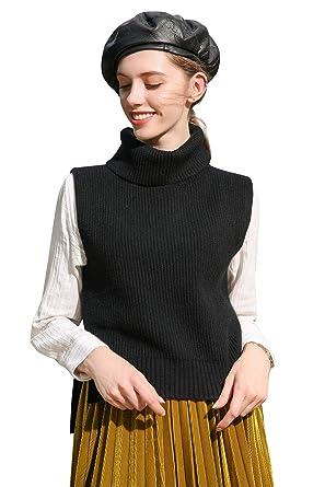 addb4ed6e881c Panreddy Womens Cashmere Knitted Turtleneck Tank Top Sleeveless Hem Split  Sweater MJ021 Black S