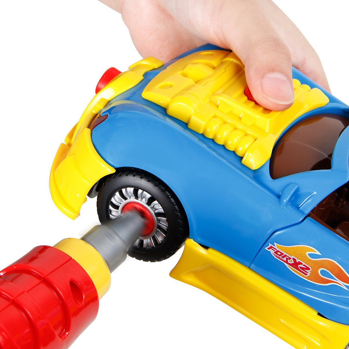 CoolToys Custom Take-A-Part Car Playset – Sports Car with Electric Play Drill and 30 Car Modification Pieces – Motion Activated Lights and Sounds by CoolToys (Image #4)