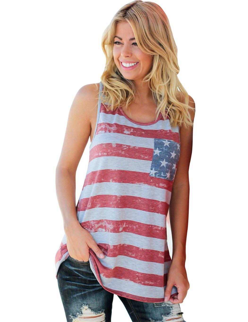 Litbud Women\'s American Flag Shirt Tanks top Stripe Sleeveless Patriotic Tee July 4th Tshirt