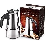 AMFOCUS Stovetop Espresso Maker Coffee Percolator Pot, Stainless Steel, 2 Servings