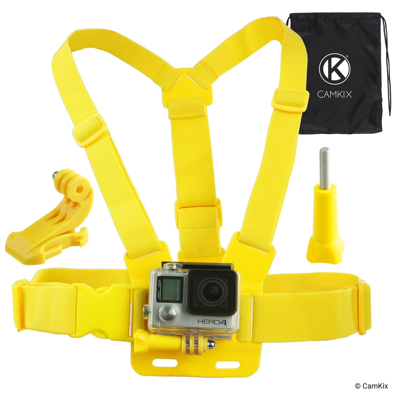 CamKix Chest Mount Harness compatible with Gopro Hero 7, 6, 5, 4, Session, Black, Silver, Hero+ LCD, 3+, 3, 2, 1 - Fully Adjustable Chest Strap - Also Includes J-Hook / Thumbscrew / Storage Bag 6B5SY-GCM-BLA
