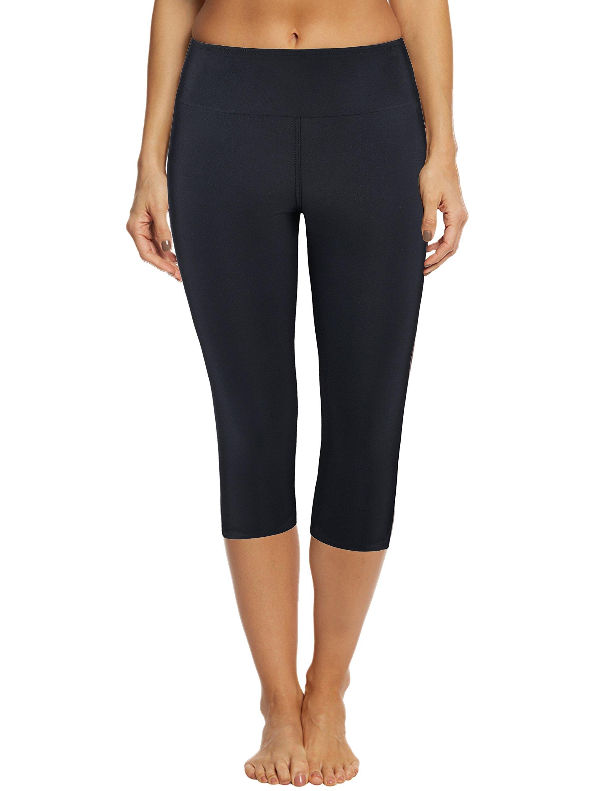 Septangle Women's Swim Capri Legging Board Shorts Swimwear(US 22, Black)