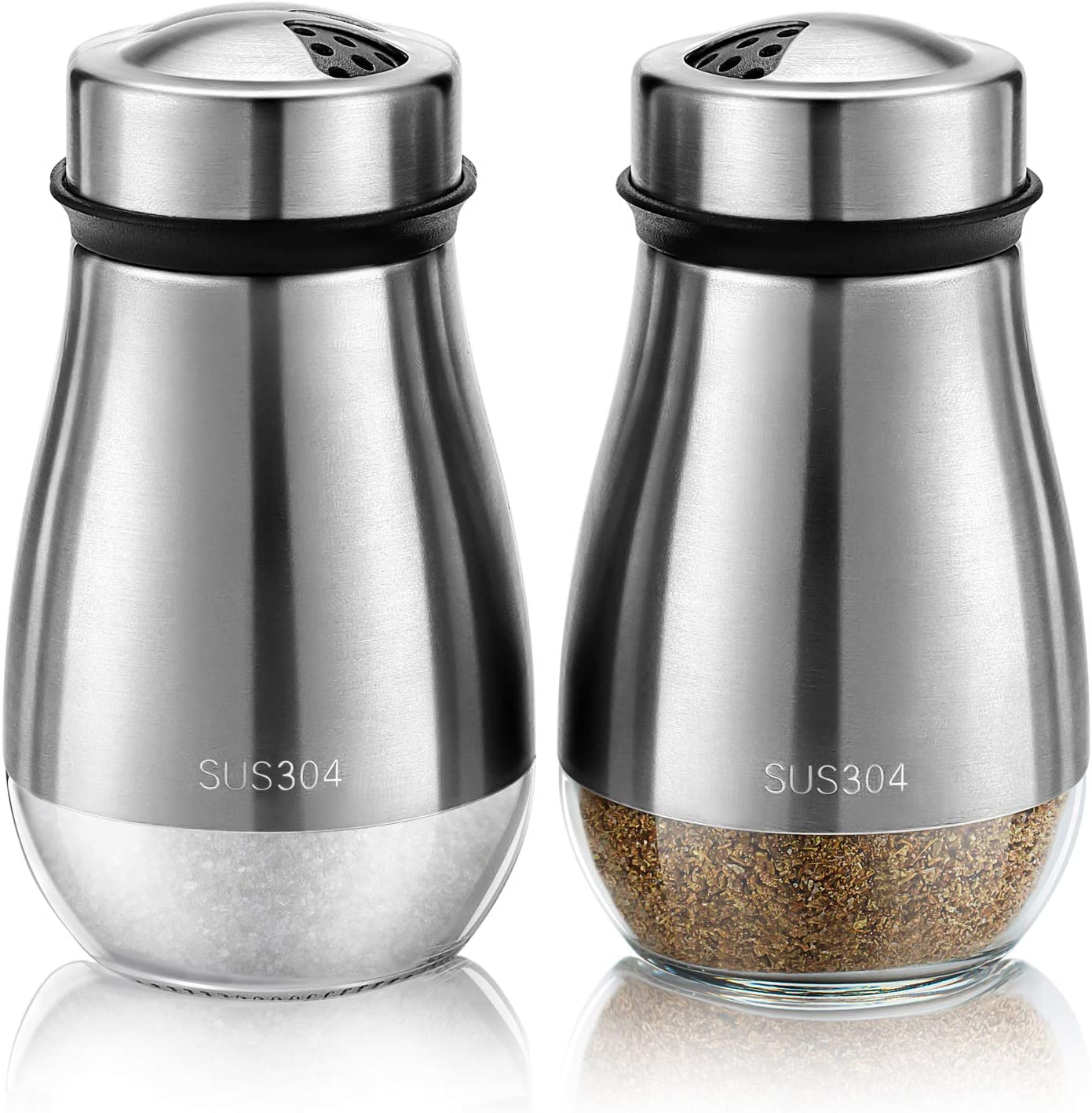 TUAEB 2pcs Salt and Pepper Shakers Set - Salt Shaker with Adjustable Pour Holes - 304 Stainless Steel & Glass Spice Dispenser Refillable - Perfect for Black Pepper, Kosher And Sea Salts - Seasoning