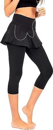 DEAR SPARKLE Skirted Capri Skirt Leggings for Women | Yoga Tennis Golf Skapri w Pockets + Plus Size (S19)
