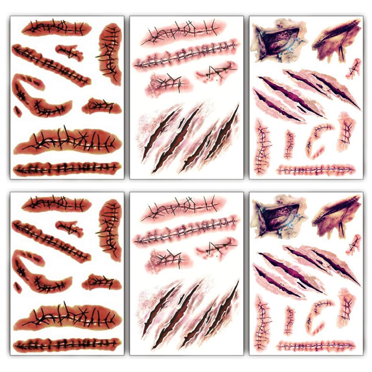 Large Size Halloween Temporary Tattoos Fake Wound Bloody Stitch Scars Scab Waterproof Temp Tattoo Stickers Body Art Decoration for Adults Kids Makeup Cosplay Costume Party(6 Sheets)