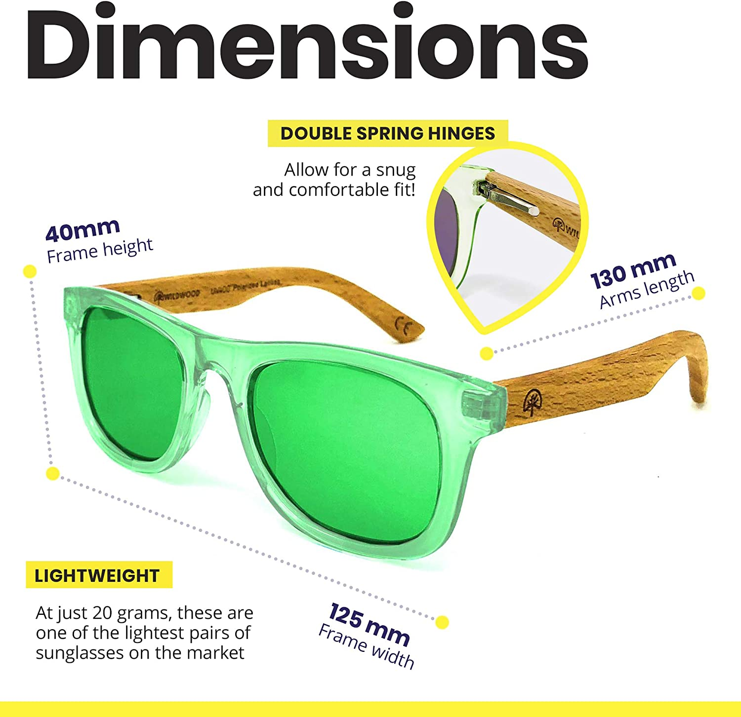 Kids Polarised Sunglasses for Boys and Girls with Recycled Frames and Beech Wood Arms