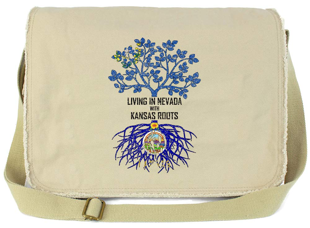 Tenacitee Living In Nevada with Kansas Roots Grey Brushed Canvas Messenger Bag
