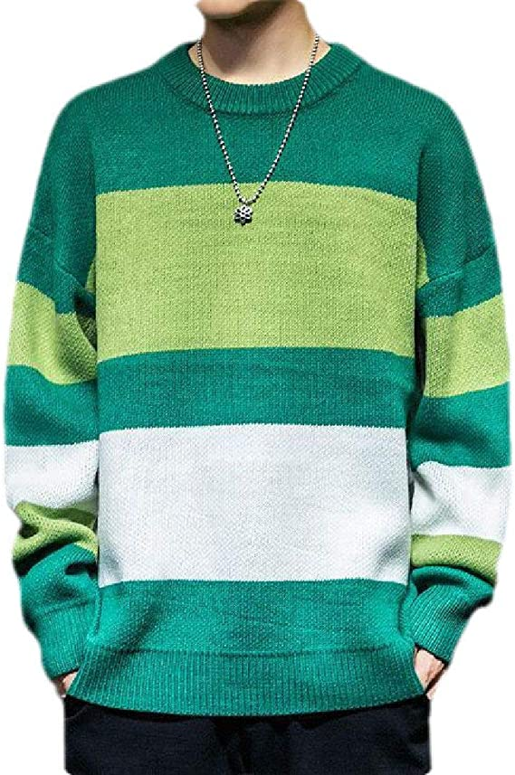 Joe Wenko Mens Casual Knit Color Block Crew Neck Plus Size Pullover Sweaters