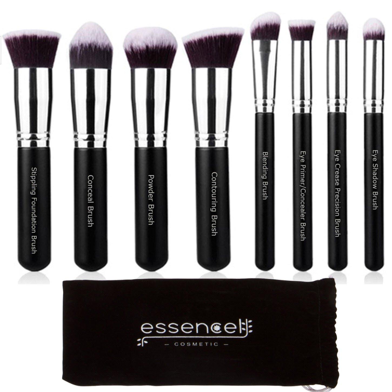 Essencell Makeup Brushes Premium Synthetic Kabuki Cosmetic Makeup Brush Set - Foundation,Powder, Blending Blush Bronzer, Concealer Contour, Eye Shadow Brush Kit (8PCs, Black Sliver)