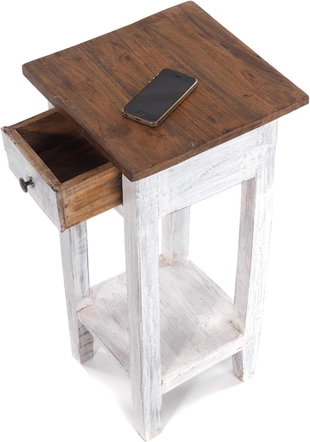 Stile Shabby A x L x P Tavolino Vintage in Legno di Mogano Riciclato DESIGN DELIGHTS Drawer 65 65 x 31 x 31 cm