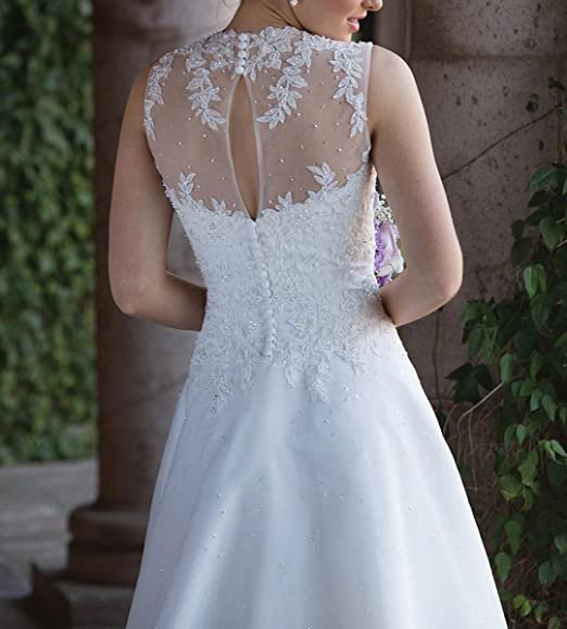 Vweil Vintage Inspired Lace Vestido De novia 2018 Illusion Neck Sheer Lace Bridal Wedding Dresses For Women 2018 at Amazon Womens Clothing store:
