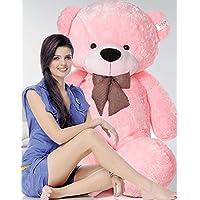 OSJS Stuffed Spongy Teddy Bear with Neck Bow, Pink 4 Feet (122 cm)