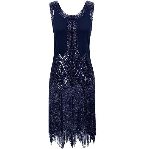 kayamiya Womens Retro Inspired 1920s Sequined Beaded Art Deco Fringe Flapper Dress