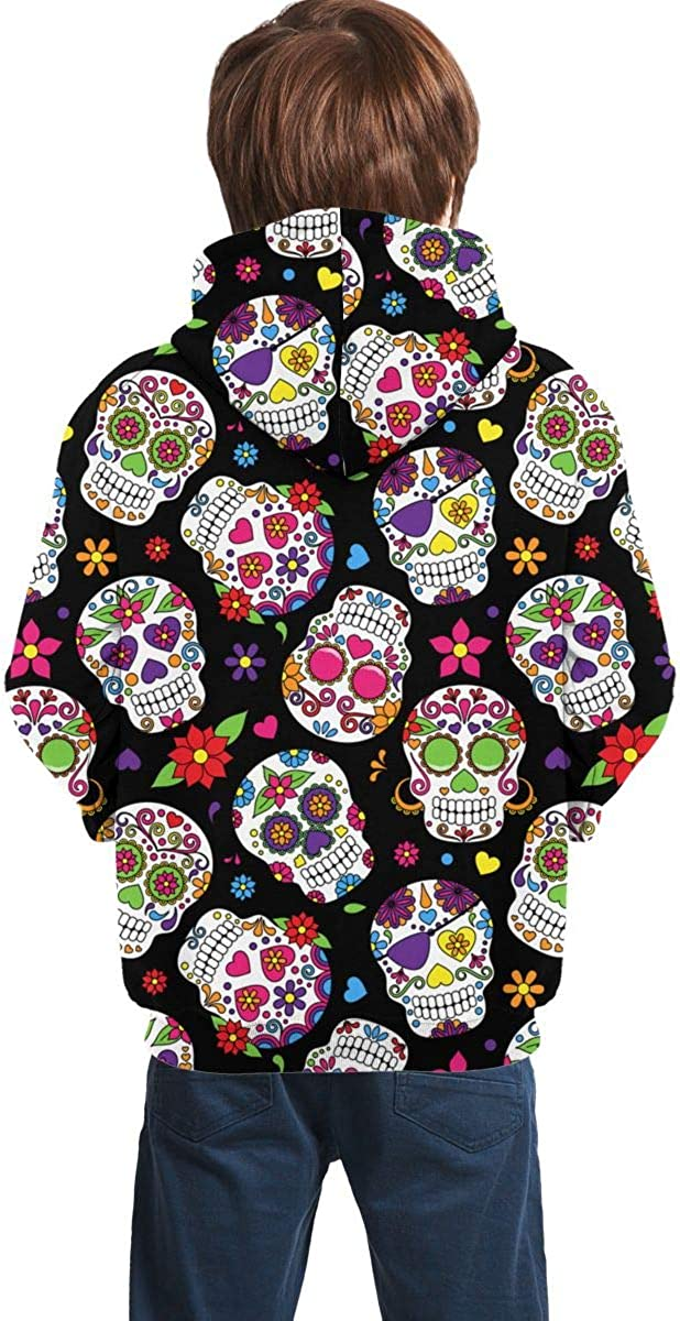 Day of The Dead Sugar Skull Men 3D Print Pullover Hoodie Sweatshirt with Front Pocket