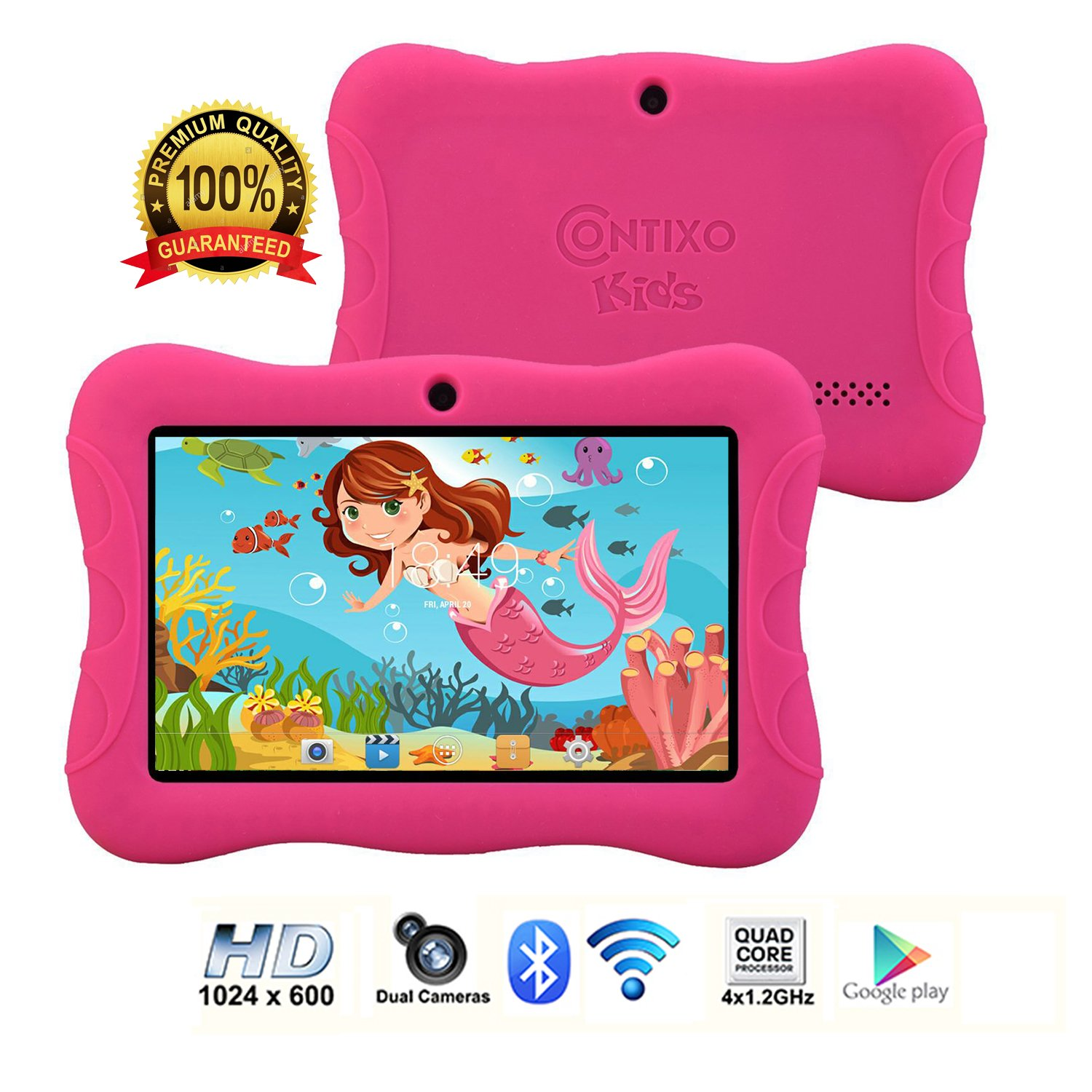 Contixo Kids Tablet K3 | 7'' Display Android 6.0 Bluetooth WiFi Camera Parental Control for Children Infant Toddlers w/Free Tablet Case (Pink)