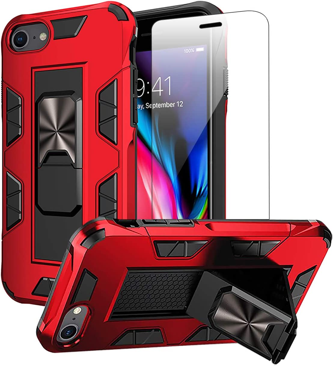 Compatible with iPhone SE 2020 Case iPhone 8 Case iPhone 7 case with Screen Protector Dual Layer Soft Flexible TPU Hard Shell Military Grade Full-Body Rugged Kickstand Protective Cover Cases (Red)